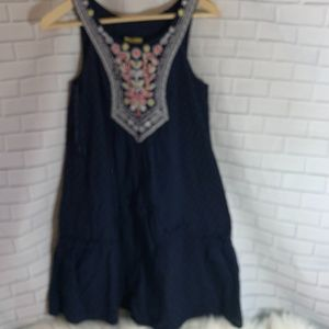 Anthro Maeve Cotton Navy Embroidered Bodice Dress